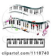 Clipart Of Grungy Music Keyboards And Notes Royalty Free Vector Illustration