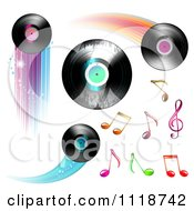 Clipart Of Flying Vinyl Records And Colorful Music Notes Royalty Free Vector Illustration