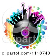 Clipart Of Silhouetted Dancers On A Vinyl Record With Rainbow Grunge Royalty Free Vector Illustration