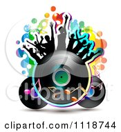 Clipart Of Silhouetted Dancers On A Vinyl Record With Music Notes 3 Royalty Free Vector Illustration