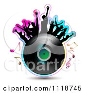 Clipart Of Silhouetted Dancers On A Vinyl Record With Music Notes 2 Royalty Free Vector Illustration by merlinul #COLLC1118745-0175