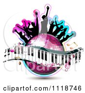 Clipart Of Silhouetted Dancers On A Disco Ball With A Keyboard And Music Notes Royalty Free Vector Illustration