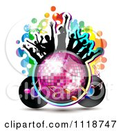 Clipart Of Silhouetted Dancers On A Disco Ball With A Record Album And Music Notes Royalty Free Vector Illustration by merlinul #COLLC1118747-0175