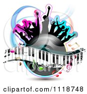 Clipart Of Silhouetted Dancers On A Vinyl Record With A Keyboard And Music Notes 3 Royalty Free Vector Illustration