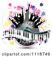 Clipart Of Silhouetted Dancers On A Vinyl Record With A Keyboard And Music Notes 2 Royalty Free Vector Illustration