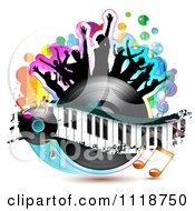 Clipart Of Silhouetted Dancers On A Vinyl Record With A Keyboard And Music Notes 1 Royalty Free Vector Illustration