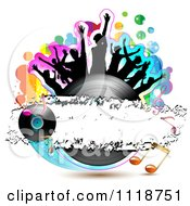Clipart Of Silhouetted Dancers On A Vinyl Record With Music Notes 1 Royalty Free Vector Illustration