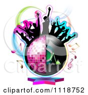 Clipart Of Silhouetted Dancers On A Half Disco Ball And Record Album With Music Notes Royalty Free Vector Illustration