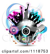 Clipart Of Silhouetted Dancers On A Vinyl Record With Music Notes 4 Royalty Free Vector Illustration