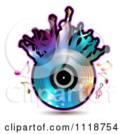 Clipart Of Silhouetted Dancers On A Vinyl Record With Music Notes 5 Royalty Free Vector Illustration