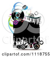 Clipart Of Silhouetted Dancers With Copyspace On A Keyboard Album And Microphone Music Frame 1 Royalty Free Vector Illustration