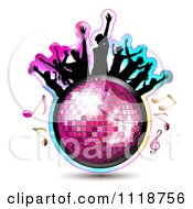 Clipart Of Silhouetted Dancers With A Disco Ball And Music Notes 2 Royalty Free Vector Illustration by merlinul