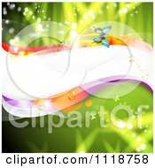 Clipart Of A Wave And Butterflies On Green Royalty Free Vector Illustration
