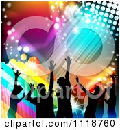 Clipart Of Silhouetted Dancers With Rainbow Grunge And Colorful Lights Royalty Free Vector Illustration