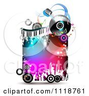 Clipart Of Silhouetted Dancers With Copyspace On A Keyboard Album And Microphone Music Frame 2 Royalty Free Vector Illustration by merlinul