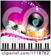 Clipart Of Background Of Vinyl Records Music Notes And A Keyboard Royalty Free Vector Illustration by merlinul