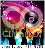 Clipart Of Silhouetted Dancers With A Vinyl Record 1 Royalty Free Vector Illustration