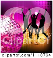 Clipart Of Silhouetted Dancers With A Disco Ball And Music Notes 2 Royalty Free Vector Illustration