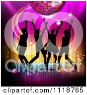 Clipart Of Silhouetted Dancers With A Disco Ball And Music Notes 1 Royalty Free Vector Illustration