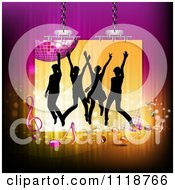 Clipart Of Silhouetted Dancers With A Disco Ball And Music Notes 3 Royalty Free Vector Illustration