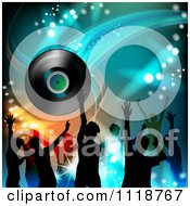 Clipart Of Silhouetted Dancers With A Vinyl Record 2 Royalty Free Vector Illustration