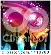 Clipart Of Silhouetted Dancers Under A Disco Ball Royalty Free Vector Illustration