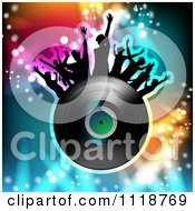 Clipart Of Silhouetted Dancers With A Vinyl Record 3 Royalty Free Vector Illustration