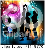 Clipart Of Silhouetted Dancers With A Disco Ball And Vinyl Records Royalty Free Vector Illustration