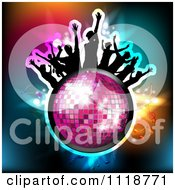 Clipart Of Silhouetted Dancers On A Disco Ball With Music Notes 1 Royalty Free Vector Illustration by merlinul #COLLC1118771-0175