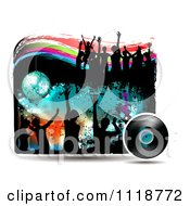Clipart Of Silhouetted Dancers With Grunge A Disco Ball And Vinyl Record Royalty Free Vector Illustration by merlinul