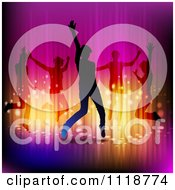Clipart Of Silhouetted Dancers With Gradient Lighting Royalty Free Vector Illustration