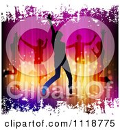 Clipart Of Silhouetted Dancers With White Grunge Royalty Free Vector Illustration