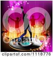 Clipart Of Silhouetted Dancers With One On A Vinyl Record With Music Notes Royalty Free Vector Illustration