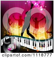 Clipart Of Silhouetted Dancers Over A Keyboard Music Notes And Vinyl Record Royalty Free Vector Illustration