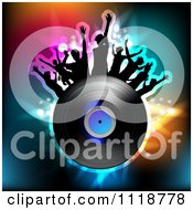 Clipart Of Silhouetted Dancers With A Vinyl Record 4 Royalty Free Vector Illustration