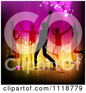 Clipart Of Silhouetted Dancers And Music Notes Royalty Free Vector Illustration