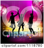 Clipart Of Silhouetted Dancers With A Disco Ball And Music Notes 4 Royalty Free Vector Illustration