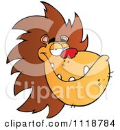 Cartoon Of A Grinning Male Lion Face Royalty Free Vector Clipart