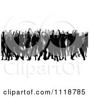 Clipart Of A Silhouetted Crowd Of Dancers 1 Royalty Free Vector Illustration