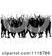 Clipart Of A Silhouetted Crowd Of Dancers 2 Royalty Free Vector Illustration