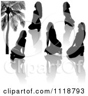 Clipart Of Black And Gray Provocative Women Silhouettes And Reflections Royalty Free Vector Illustration
