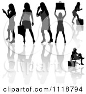 Silhouetted Black Businesswomen Posing With Briefcases 7