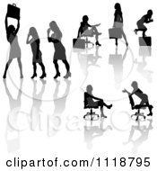 Silhouetted Black Businesswomen Posing With Briefcases 8
