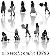 Silhouetted Black Businesswomen Posing With Briefcases 5