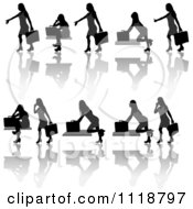 Silhouetted Black Businesswomen Posing With Briefcases 6