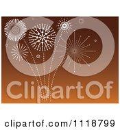 Clipart Of White Fireworks Bursting In An Orange Sky Royalty Free Vector Illustration