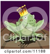 Cute Frog Prince With A Lipstick Kiss On His Cheek Wearing A Crown Clipart Illustration