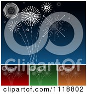 Clipart Of White Fireworks Bursting In Blue Red Green And Orange Skies Royalty Free Vector Illustration