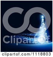 Clipart Of A Magical Blue Glowing Christmas Tree On Black Royalty Free Vector Illustration