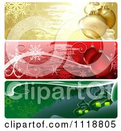 Clipart Of Colorful Christmas Website Banners With Baubles And Houses Royalty Free Vector Illustration
